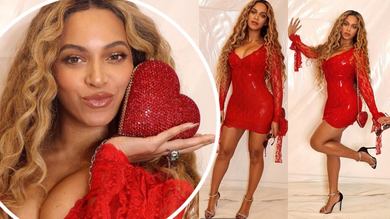 Beyonce Sends Temperatures Soaring In Latex Red Mini Dress In Her Valentine's Date Night Look