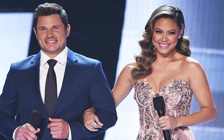 Vanessa Lachey Looks Stunning In Bedazzled Strapless Pink Gown At 2019 Miss USA