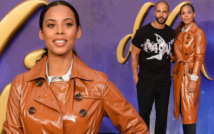 Rochelle Humes Looks Stylish in Orange Leather Mac As She And Husband Marvin Humes Attend The Aladdin European Premiere