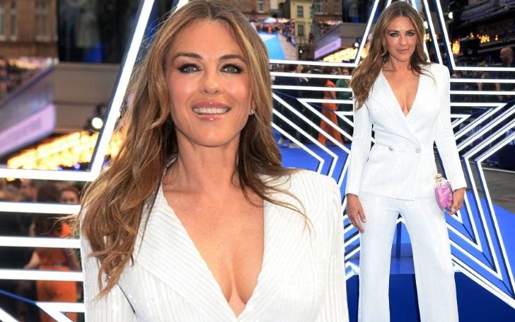 Elizabeth Hurley Looks Stunning In Sexy Suit With Plunging Blazer At 'Rocketman' Premiere
