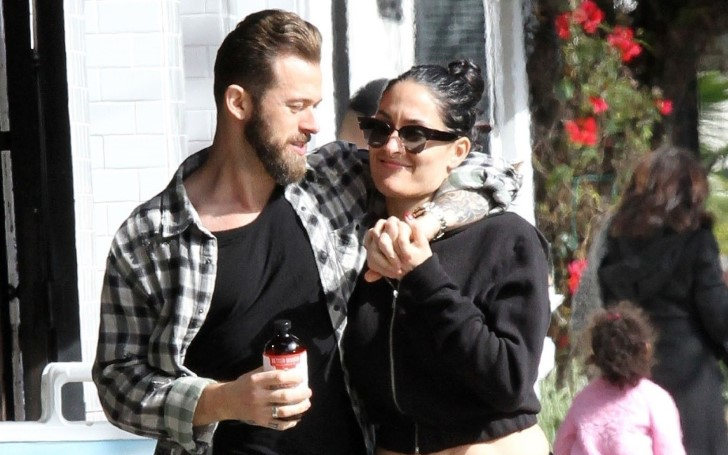 Nikki Bella Rocked Plenty Of Cleavage In A Deep Cut Sundress While On A romantic Getaway To Napa's Bottlerock Festival With Boyfriend Artem Chigvinstev