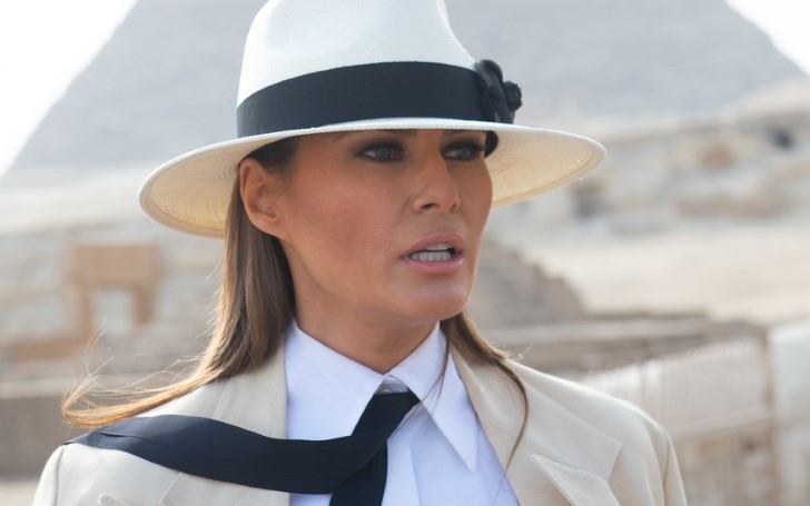 Melania Trump Lands In London For Presidential State Visit In A Gorgeous Red, White And Blue Outfit
