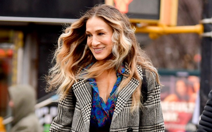 Sarah Jessica Parker Looks Lovely In Vibrant Red Skirt and Plaid Coat for Filming on 'Divorce' Set