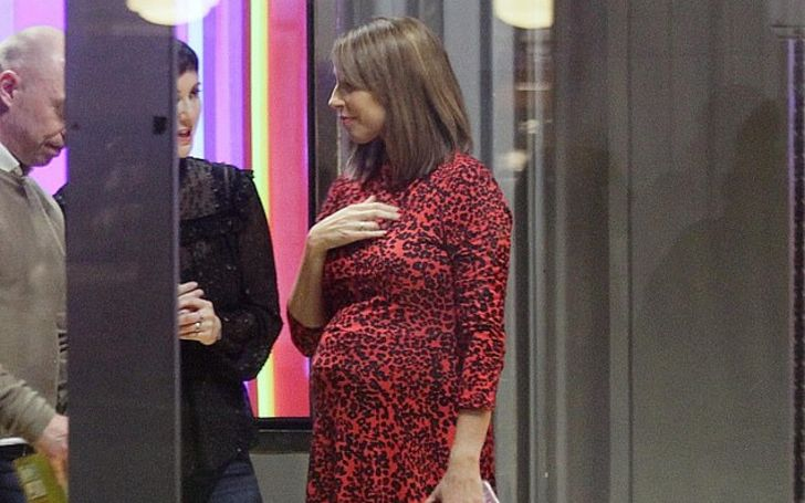 Alex Jones Shows Off Her Growing Baby Bump At The BBC Studios