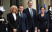 French President Emmanuel Macron Greets Spain's King Felipe VI and Queen Letizia With Namaste