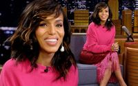 Kerry Washington Arrived at The Tonight Show studio in a Eye-catching Pink Outfit
