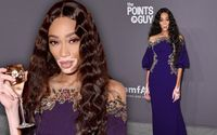 Winnie Harlow Looks Stunning in Purple and Gold at the 21st Annual amfAR Gala