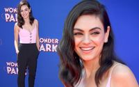 Mila Kunis Looked Gorgeous in a Sleeveless Pink Top with Spaghetti Straps and Black Trousers at Wonder Park Premiere in LA