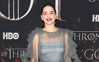 Emilia Clarke Looked Drop-Dead-Gorgeous in Dramatic Dove Grey Gown at the NYC Premiere of 'Game of Thrones'